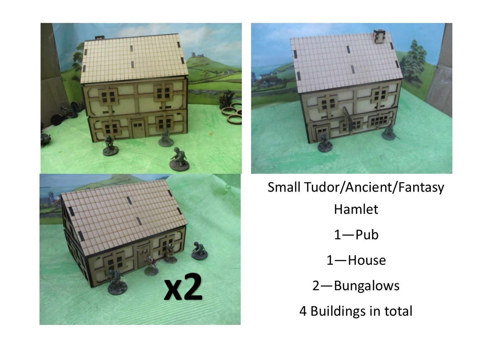 28mm Ancient Fantasy Hamlet  with exposed wood Laser Cut MDF Building Scenery
