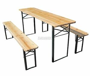 KMS California Wooden Folding Beer Table Bench Set Trestle Party Pub ...
