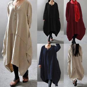 Women-Long-Sleeve-Kaftan-Asymetrical-Dress-Oversized-Loose-Blouse-Dress-Plus