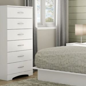 Details about 6 Drawer Bedroom Dresser Clothes Storage Metal Handles White  Chest Organizer New