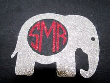 "DIY Iron On GLITTER Vinyl Alabama Elephant With Initials 3""X3.5"" Free Shipping!"