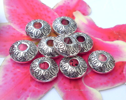 /& alloy spacer Free P/&P 4.5mm hole 30x Fab Ornate Leaf Rondelle Beads 14mm
