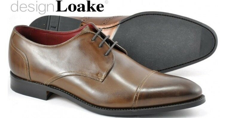 Loake Abberline Derby Style braun mens schuhe handcrafted calf leather  11    | Eleganter Stil