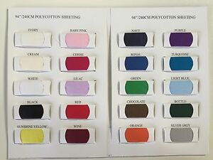 "PREMIUM POLYCOTTON SHEETING - 240cm / 94"" Wide Sold Per Metre * Plain Bed Fabric"