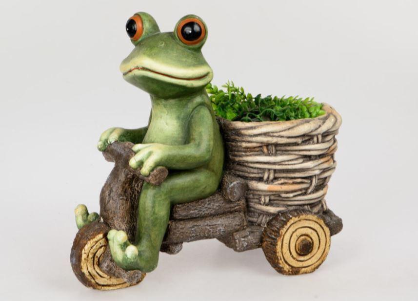 714374 Frosch auf Fahrrad 40cm aus wetterfestem Magnesia gefertigt handbemalt