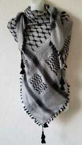 Unisex Gray Black Shemagh Head Scarf Neck Wrap Authentic Cotton Face Cover Army