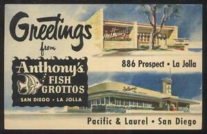 1952 postcard la jolla san diego ca california anthony 39 s for Anthony s fish grotto san diego