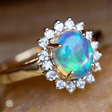 Oval Australian Solid Opal & Diamond Engagement Wedding Ring 18K Yellow Gold