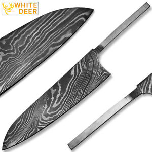 White Deer Damascus Steel Chef Knife Blank Blade Ebay