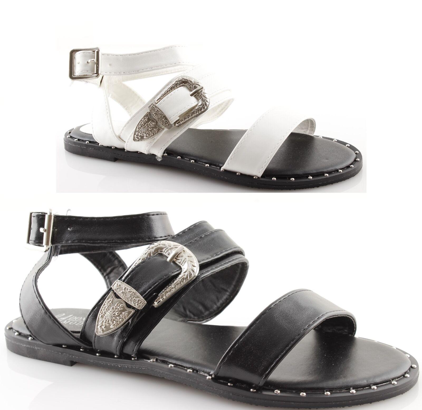 Zapatillas mujer con tachuelas hebilla cinturón en verano playa mar noche en cinturón negro 6aaf82
