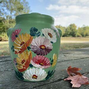 Vintage-1930-039-s-Ransburg-Floral-Pottery-Cookie-Jar-Crock-W-Lid-Flower-Stoneware