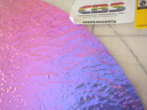 "3/""Sq Dichroic Glass:CBS 96 COE Magenta//Green on Rippled Clear"