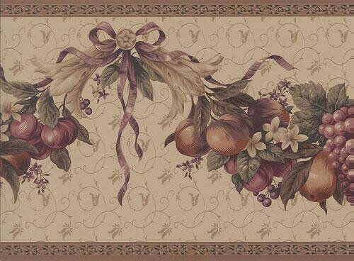 Victorian Fruit Floral Ribbon Swag Wallpaper Border