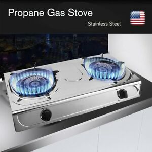 Image Is Loading Portable Propane Gas Double Burner Table Top Stove