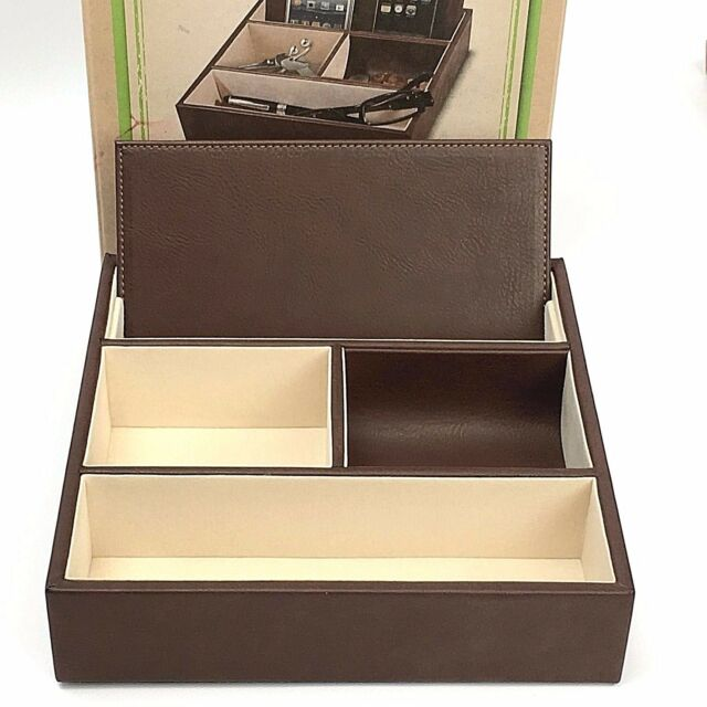 Nib John Bartlett Brown Valet Charging Station Mens Dresser Tray Organizer Phone