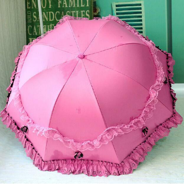 New women umbrellas Lace Parasol sun Anti Uv princess folding for windproof rain
