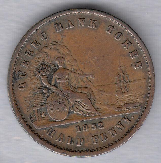 1852 Quebec Bank Token ~ Half Penny Token ~ PC-3; BR 529 ~ Very-Fine Condition!