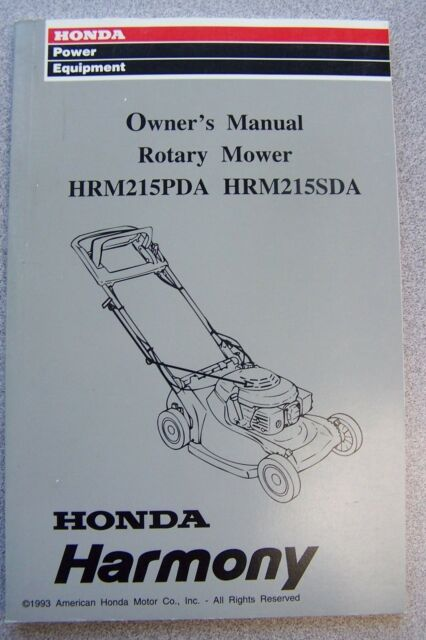 honda owner s manual for rotary lawn mower hrm215pda hrm215sda ebay rh ebay com honda hr194 lawn mower owner's manual honda mower owners manual download