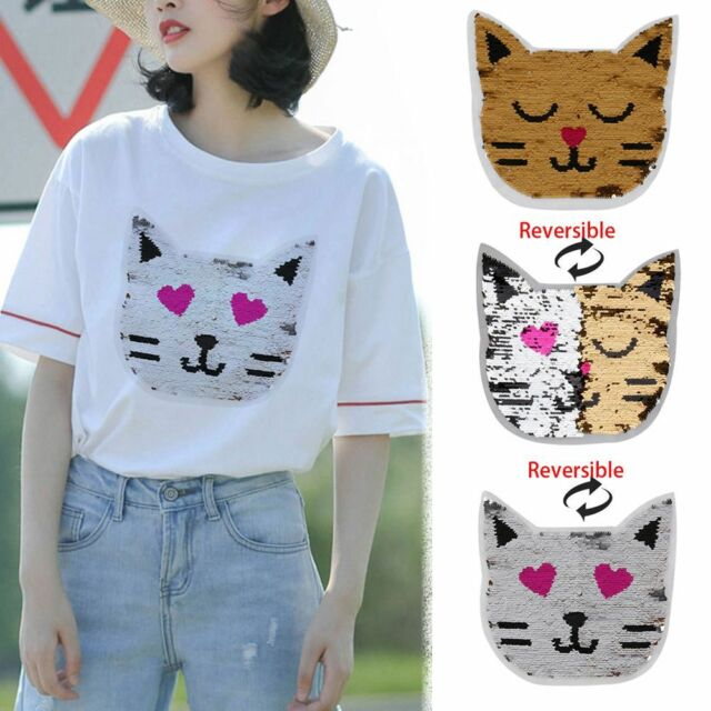 72666b92bb1 Cute Cat Pattern Reversible Color Sequins Patch Sew Clothes Applique Craft  DIY for sale online