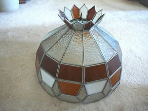 """VINTAGE LEADED STAINED GLASS LAMP LIGHT SHADE with CROWN 15.5"""" AMBER WHITE CLEAR"""