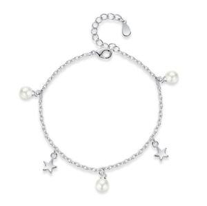 Image is loading Star-Pearl-Charm-Bracelet-925-Sterling-Silver-Womens- 9fd92de90