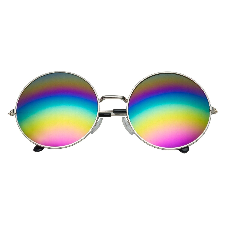 Silver Frame Oversized Large Round Sunglasses Women Rainbow Mirrored Festival