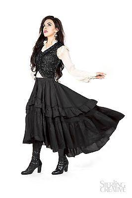 I-D-D  Victorian Steampunk Uneven Silk Cotton Ruffle Drawstring Skirt