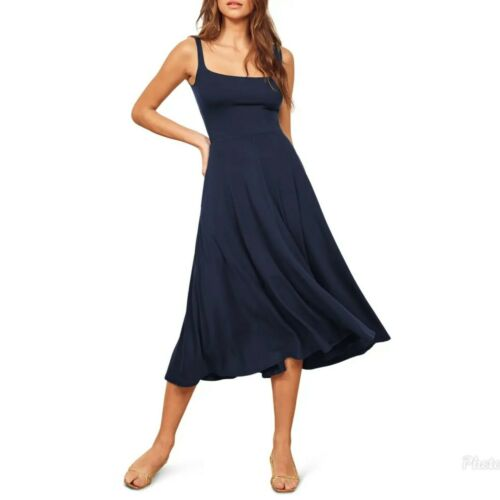 REFORMATION JEANS Mary Dress Fit Flare Navy Jersey