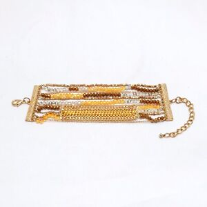 Multiple-Strand-Bracelet-Various-Beads-Chains-Links-In-Gold-Brown-Amber-Clear