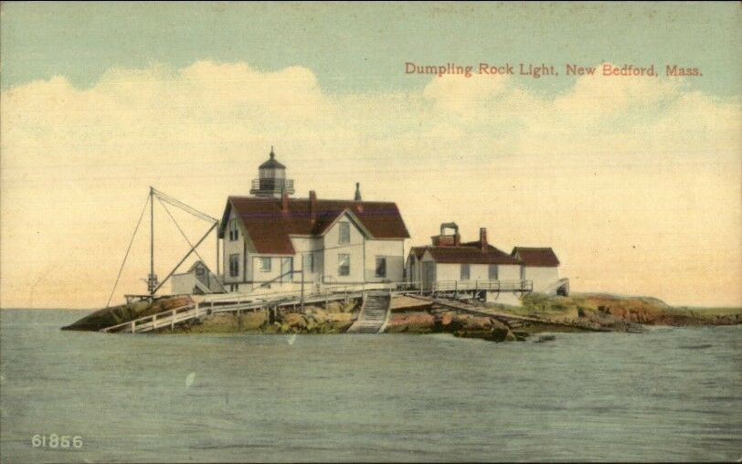 New Bedford MA Dumpling Rock Lighthouse c1910 Postcard