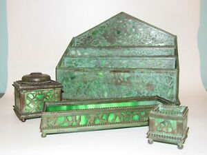 Antique-Riviere-Studios-NY-grapevine-bronze-glass-inkwell-desk-set