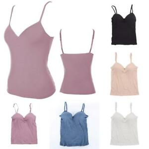 00e22552a3b29 Girl s Women s Strap Built In Bra Padded Self Mold Bra Tank Top ...