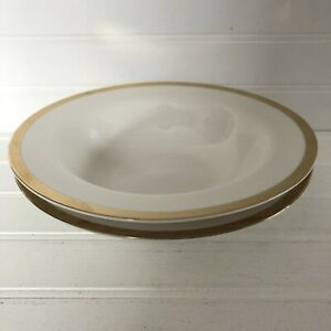 Lot-of-2-Pier-1-Gold-Band-White-Holiday-Rimmed-Soup-Bowls-8-5-034
