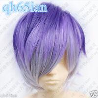 DIABOLIK LOVERS Sakamaki Kanato Short Purple mix colors Cosplay Fashion Wig