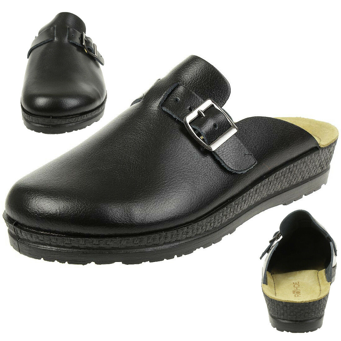 Rohde Neustadt D Zuecos Mujer Zapatos Zapatillas 1447 Negro