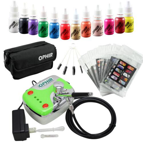 OPHIR 12x Nail Airbrushing Ink OPHIR 0.3mm Airbrush Kit Nail Stencil/&Bag/& Brush