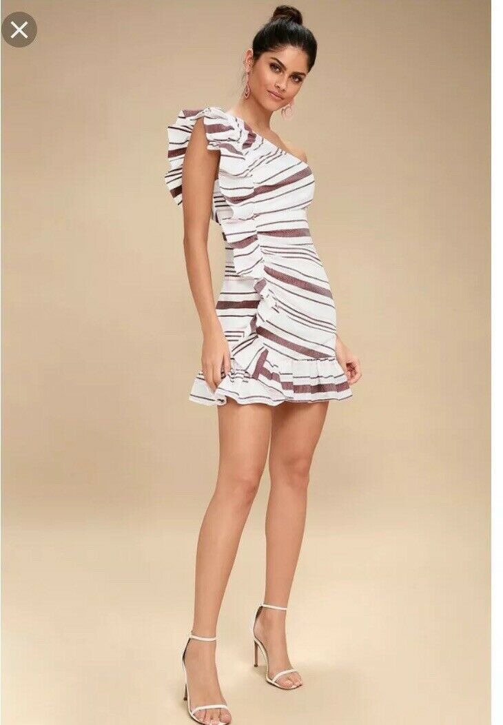 C C C MEO Collective One Shoulder Stripe Dress NWT XL  On Her Own  mini dress 1c3b9b