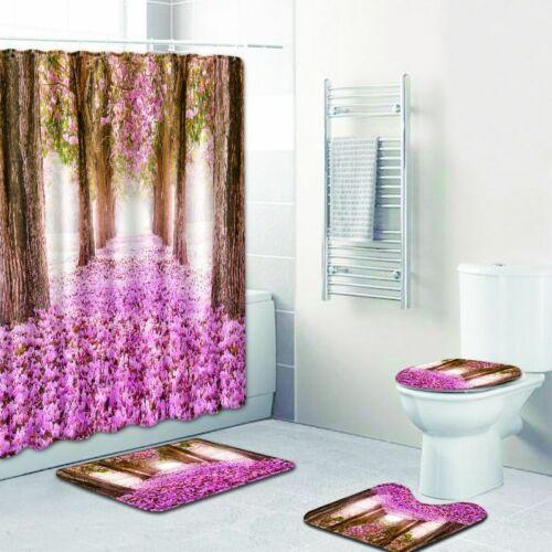 Pink Flower Tree Bathroom Shower Curtain Pedestal Toilet Seat Lid Mat Bath Rugs