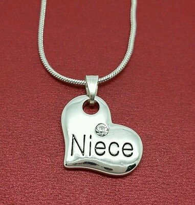 Niece Necklace Silver Plated heart Pendant Charm and chain Great gift jewelry