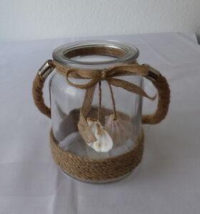 windlicht maritim aus glas mit kordel und muscheln ebay. Black Bedroom Furniture Sets. Home Design Ideas