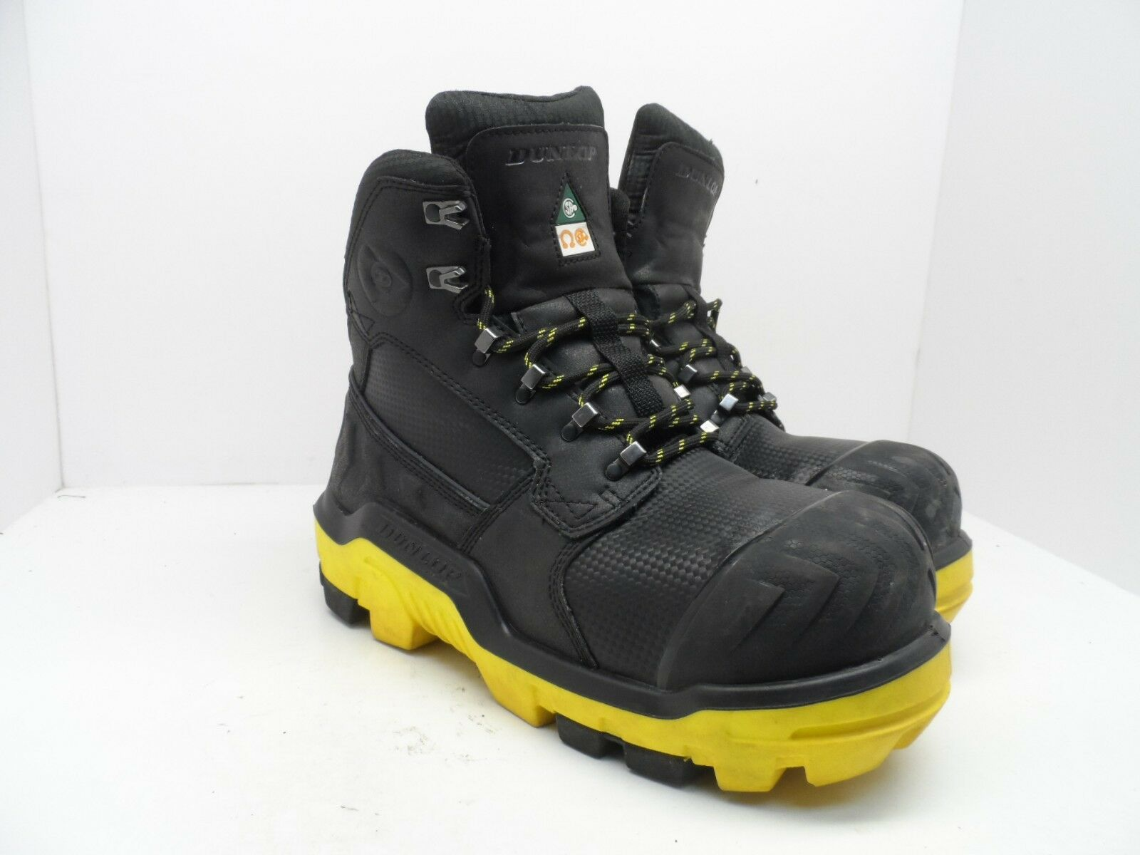 DUNLOP Men's 6'' Composite Toe Composite Plate Leather Work Boot Black Size 9.5M