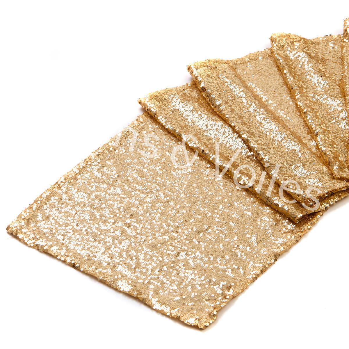 Sequin Sparkle wedding Party Table Runner Genuine UK SELLER 12  x 108  SOFT Gold