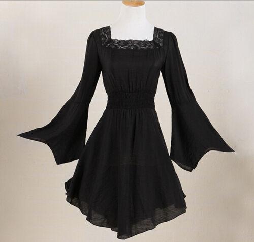 Las mujeres túnica Punk Gótico Victoriano De Encaje Negro plus camisa tamaño discotecas Blusa