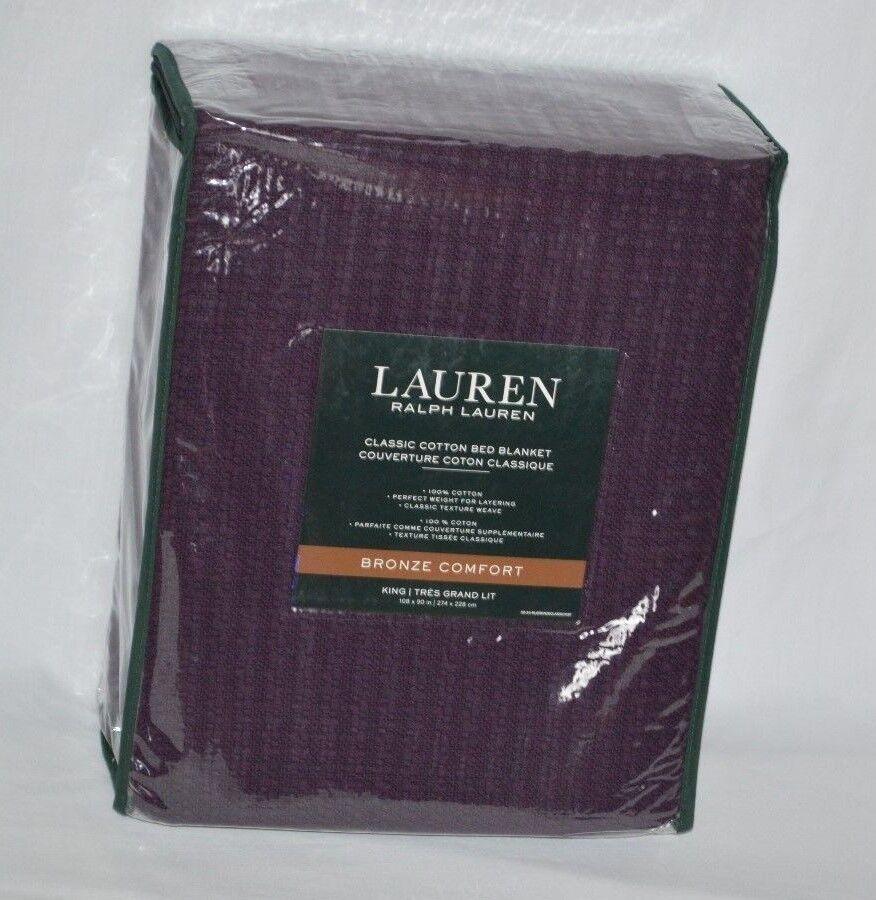 Ralph Lauren 100% Classic Cotton King Bed Blanket Aubergine