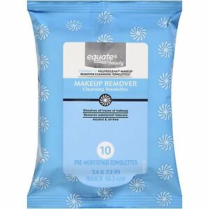 Details about Equate Makeup Remover Cleansing Towelettes Waterproof Wipes  Lips Eyes Tissues