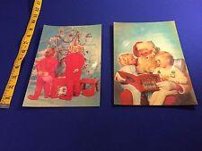 VINTAGE (2) 50's/60's Musical Singing Postcard Record- Christmas Santa Tree Kids