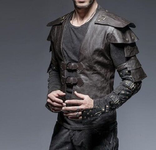 Punk Rave Men's Steampunk Gothic Pirate Mediaval Gladiator Cosplay Armor Vest