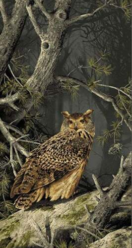 Majestic Woods Fabic Panel Owl Forest Nature Wall Hanging OOP Quilt Shop Quality