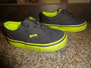 a654b86b76 Image is loading Toddler-VANS-Sz-5-Gray-amp-Yellow-Lace-