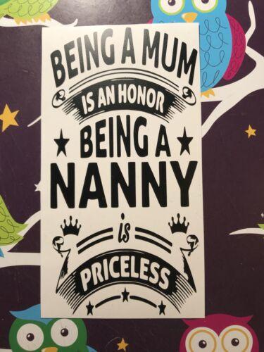 Être une maman est un honneur d/'être une nounou est inestimable Bouteille Autocollant Vinyle